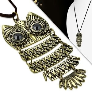 Fashion Cross Tag Rings & Big Eyes Owl Charm Brown